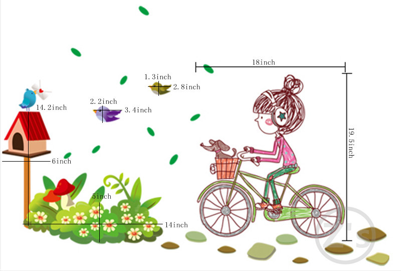 Girl Bicycle Wall Stickers For Kids Rooms Daycare Wall Decorations Nursery  Decor Children Poster Princess Mural Decal AY7085 In Wall Stickers From  Home ... Part 87