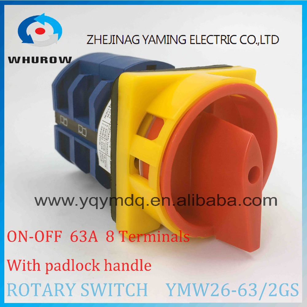 LW26 YMW26-63/2GS Rotary switch 2 postion (OFF-ON) padlock 690V 63A 2 pole 8 terminal screw universal changeover cam main switch 660v ui 10a ith 8 terminals rotary cam universal changeover combination switch