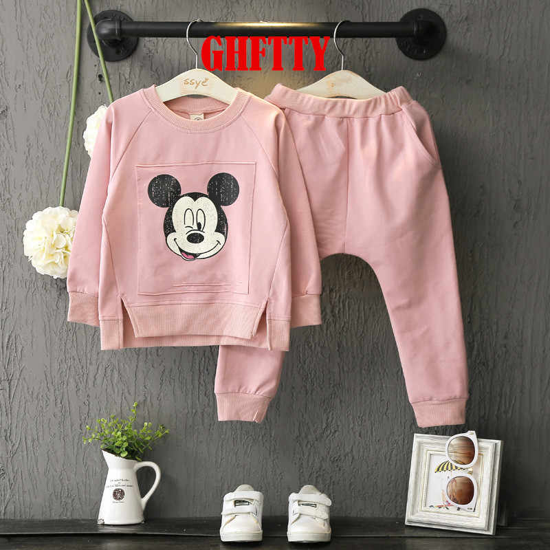 Baby Girls Clothing Sets Cartoon Minnie Mouse 2019 Winter Children's Wear Cotton Casual Tracksuits Kids Clothes Sports Suit Hot