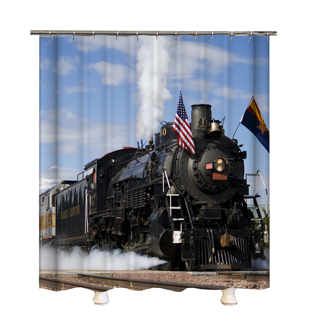 Vintage Train Shower Curtain Hooks Blue Sky Polyester Waterproof Rail Bathroom Curtains In From Home Garden On Aliexpress