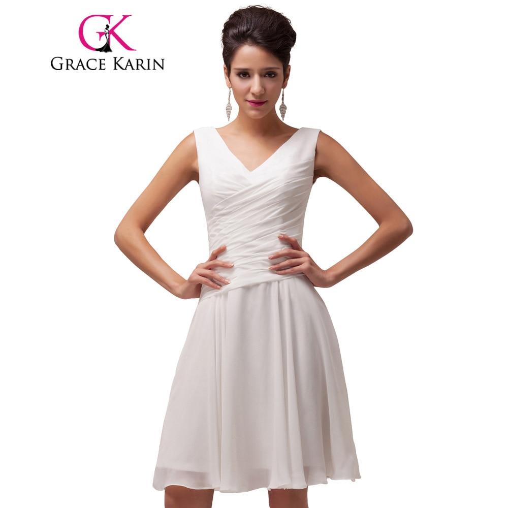 Gnade Karin Chiffon Cocktailkleid Kurz V ausschnitt Plissierten Weiß ...