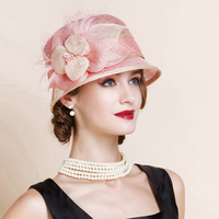 Hats Women Pink Fedoras Flowers Wide Brim Derby Hat Fascinator For Wedding Summer Church Party Ladies Chapeu Feminino