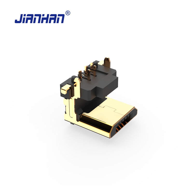 JianHan Micro USB Connector <font><b>90</b></font> Degree Vertical 5 Pin USB Adapter Connectors Micro USB 2.0 Adapters for PCB image