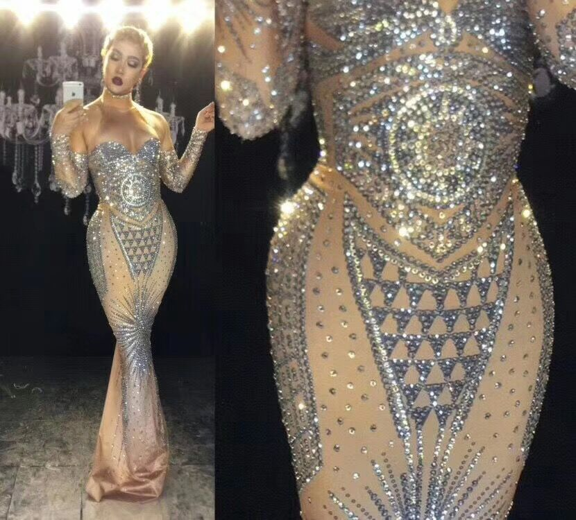 High Quality Celebrity Long Sleeve Beading Dress Bodycon DJ Club Party Dancer Costume
