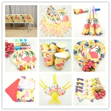 Hawaiian Luau Party Tableware Kits Paper Cups Plate Staw Flamingo Banner Birthday Party Decoration Kids Flamingo Party Supplies