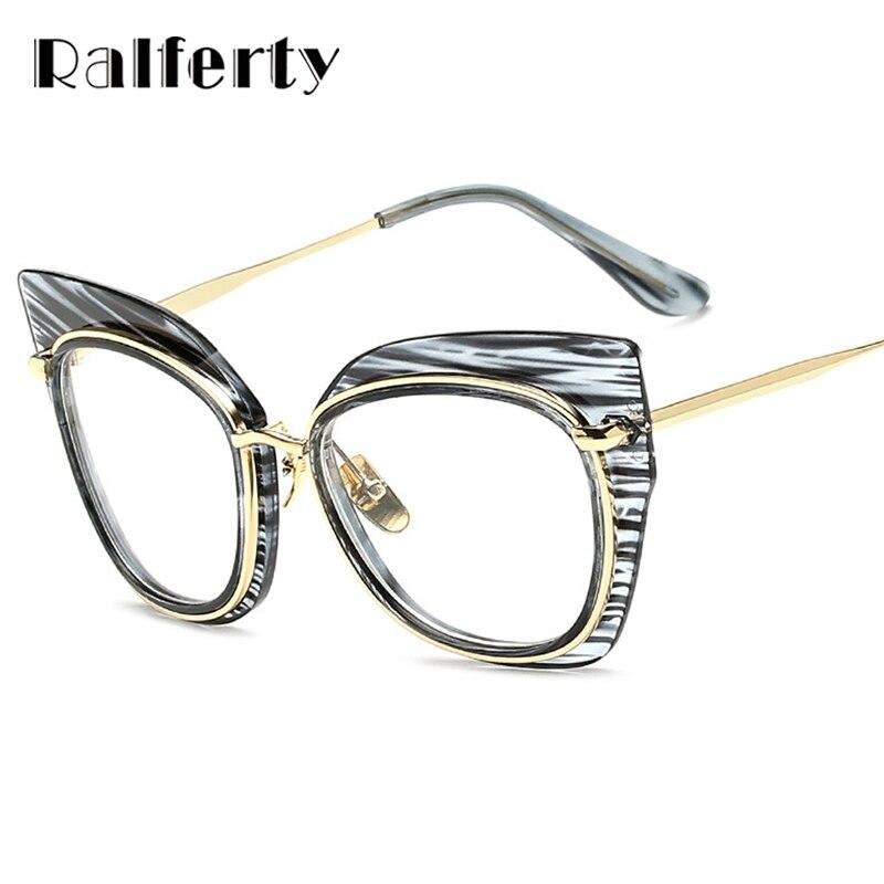 Aktiv Ralferty Cat Eye Übergroße Brillen Frauen Streifen Cateye Transparente Gläser Big Brillen Weibliche Optische Rahmen Oculos 97156 Brillenrahmen