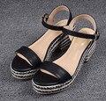 Marca de Sandalias de Plataforma de Las Mujeres Zapatos de Verano Sandalias de Cuero Genuino Cuñas Zapatos de Mujer Tacones Altos Peep Toe Sandalias de Las Cuñas B-0120