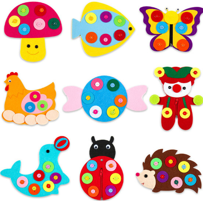 1pc Hand Zipper Button Teaching Kindergarten Manual Diy Weave Cloth Early  Education Toys Montessori Teaching Aids Math Toys #1