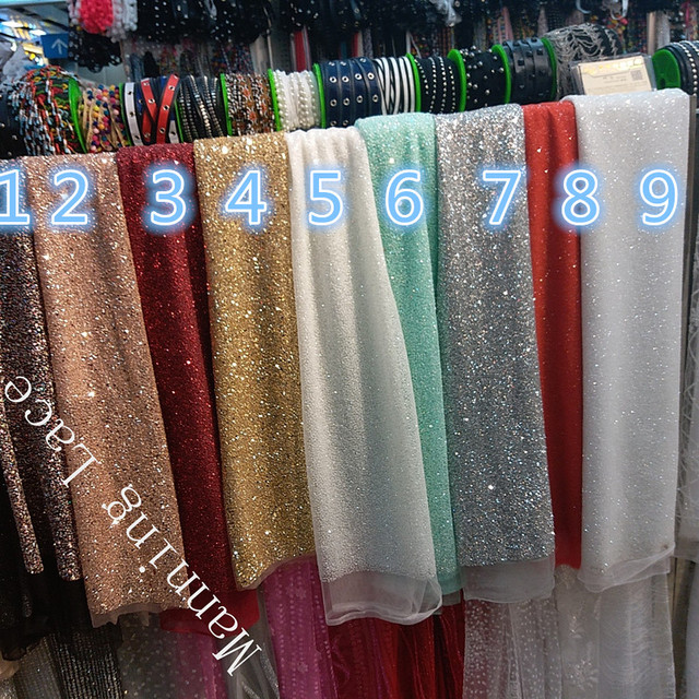 9 Colors Gold Silver Red Light Blue Champagne Is Very Sparkly Indian Wedding Fabric With Hand Printed Glue And Sequins