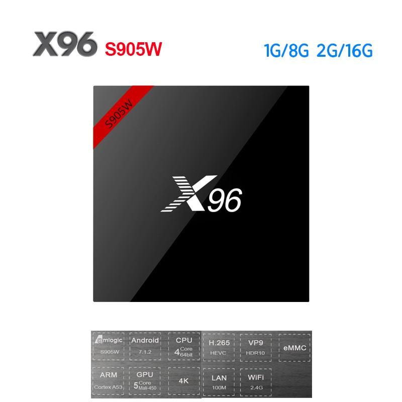 X96 Nouveau X96W Android 7.1 Smart TV Box Amlogic S905W Mini Boîte 1g/8g 2g/ 16g Soutien 2.4 ghz WiFi HD 4 k Set-top Box PK H96 X92