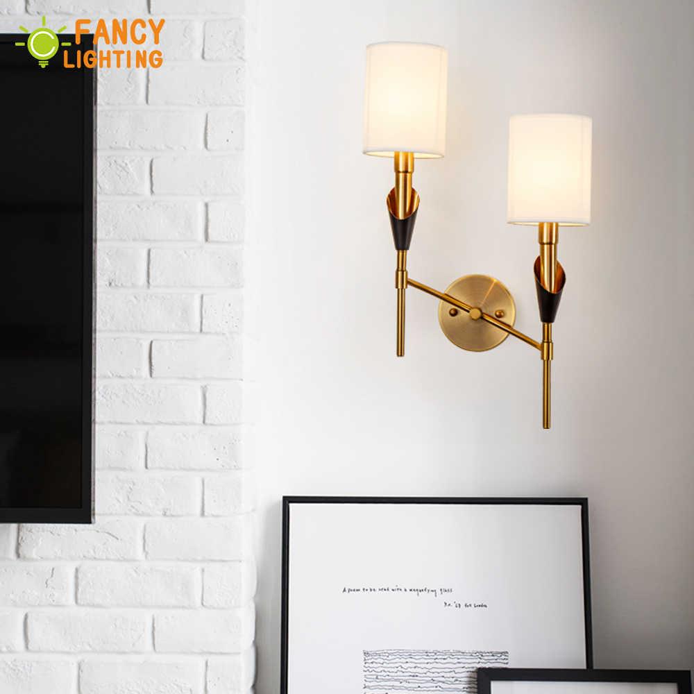 (E14 Светодиодный светильник бесплатно) современный настенный светильник 1/2 светодиодный настенный светильник для дома/спальни тканевый абажур wandlamp железный светильник для ванной комнаты