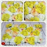 2017 חדש! סדרת מלאכותי רוז פרח צהוב לבן פרח כדור מרכזי שולחן מסיבת חתונת תפאורת קישוטי קיר קשת