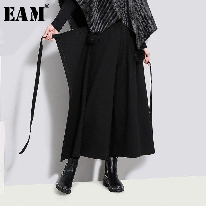 [EAM] 2018 New Autumn Winter High Waist Solid Color Black Loose Wide Leg Bandage Pants Women Trousers Fashion Tide JD40301
