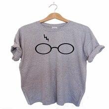 S-XXXL Plus big size Womens/MEN T-shirt Harry Potter Lightning Glasses Printed T-shirt Tees Harajuku Tshirt T-Shirts(China (Mainland))