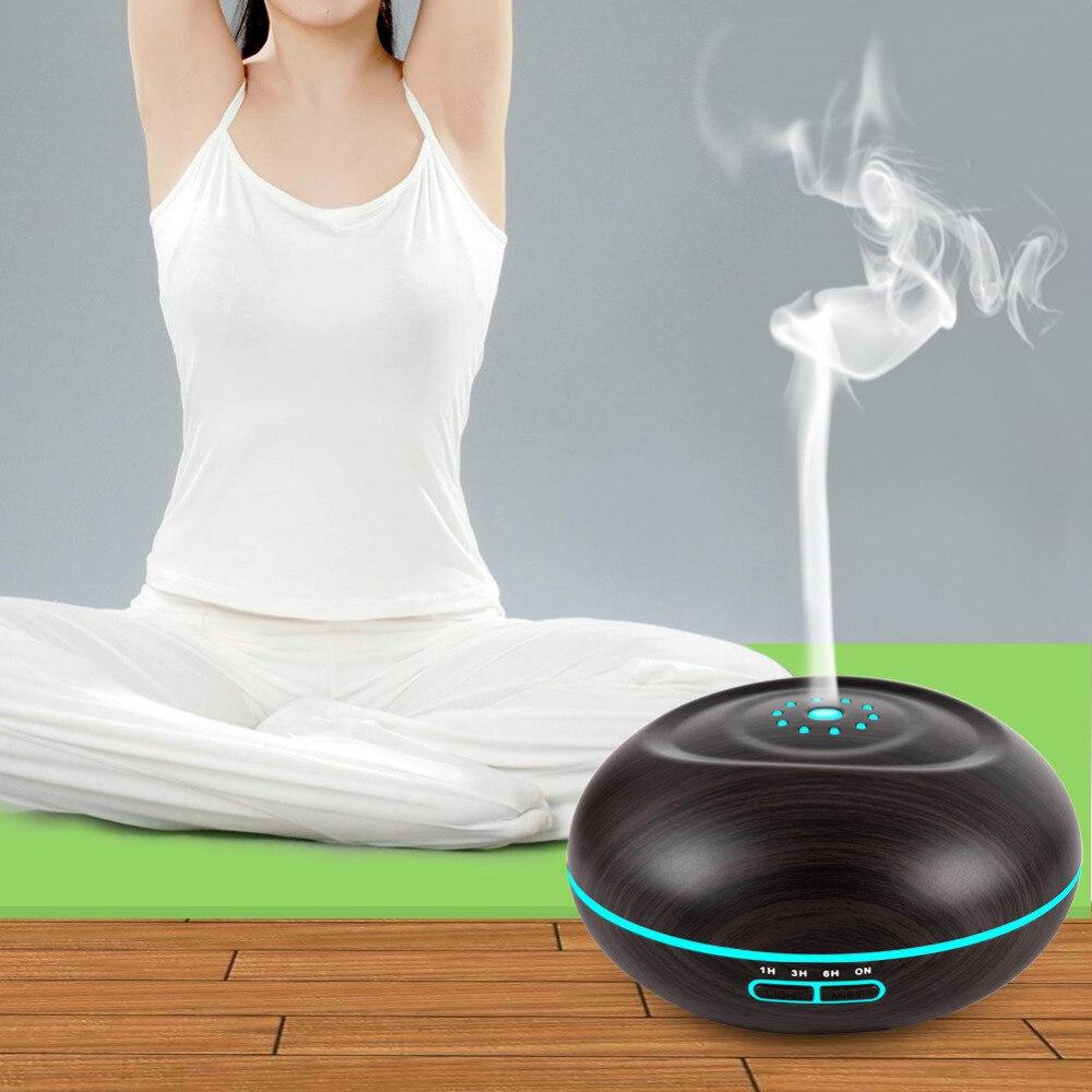 Купить с кэшбэком 500ml Aroma Essential Oil Diffuser Ultrasonic Air Humidifier purifier Wood Grain LED Lights for Home Bedroom Mist Maker Fogger
