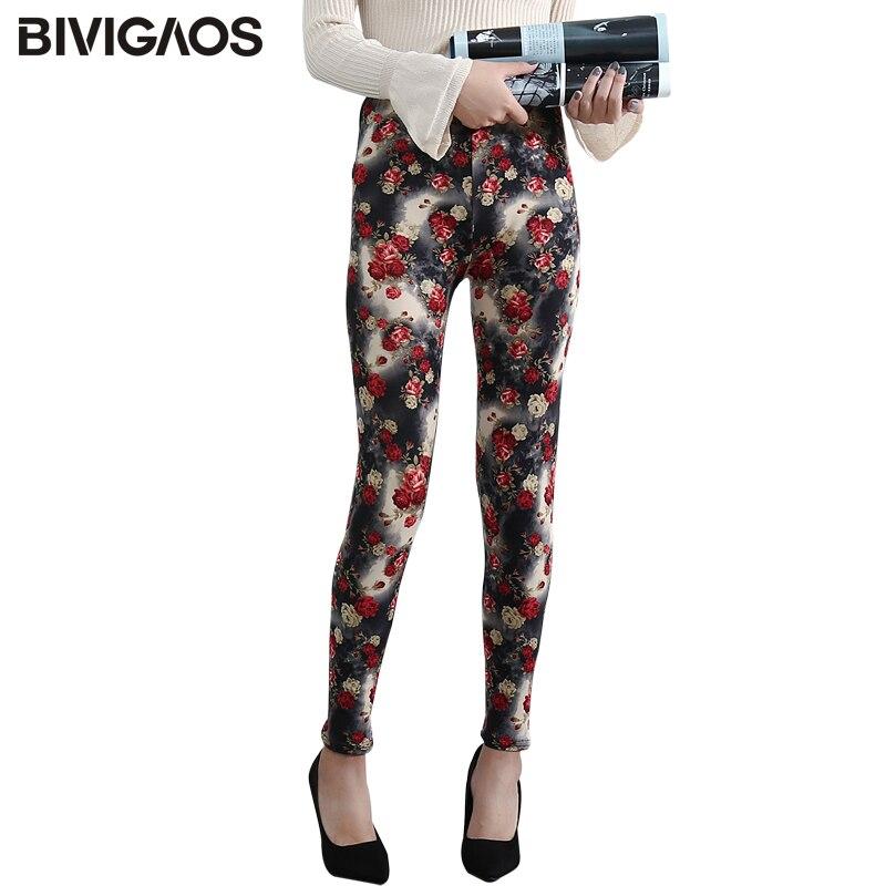 BIVIGAOS Womens Leggings Thin Sanding Red Rose Flower Printed Leggings Stretch Slim Leggings Casual Pencil Pants Women Legging