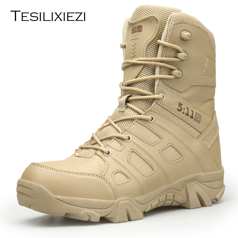 Men High Military Leather Boots Special Force Tactical Desert Combat … Men's Tactical Boots