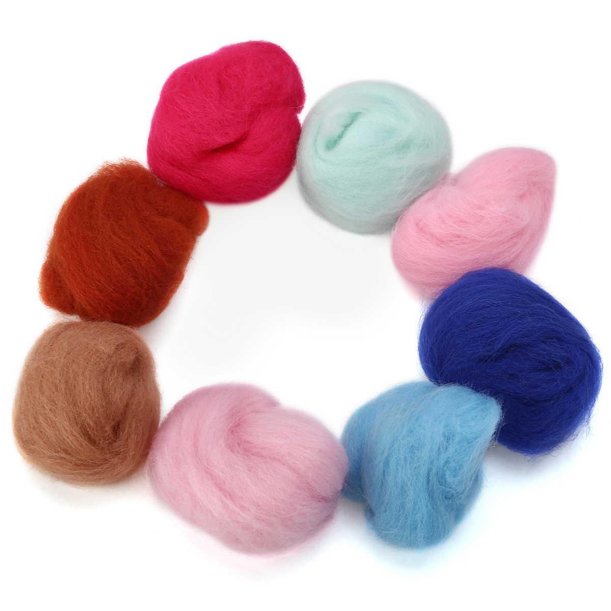 40 색 3 그램/가방 메리노 울 탑 펠트 섬유 바늘 Felting 젖은 Felting DIY 재미 인형 바느질 작업 Raw Wool Felt