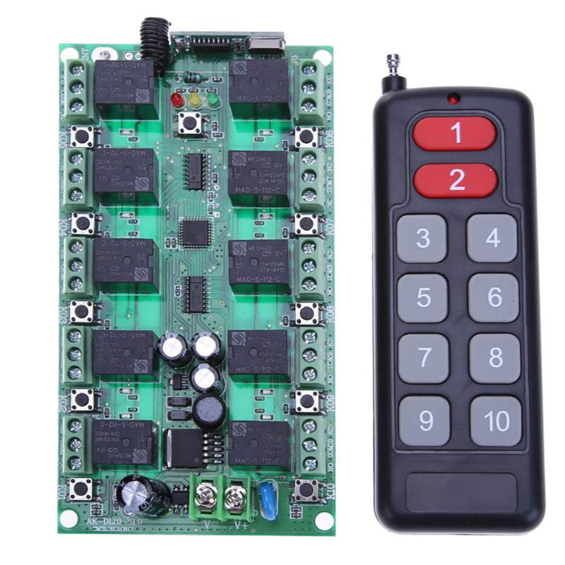 DC 24V 10Channel Wireless Remote Control Switch LED Remote Lighting Controller RF 433 Mhz Remote Controls for Lighting/LED/Gates top quality 110v 220v 315hz 1 channel rf digital wireless 2 remote control 8 switch power for lighting 200m range controlling