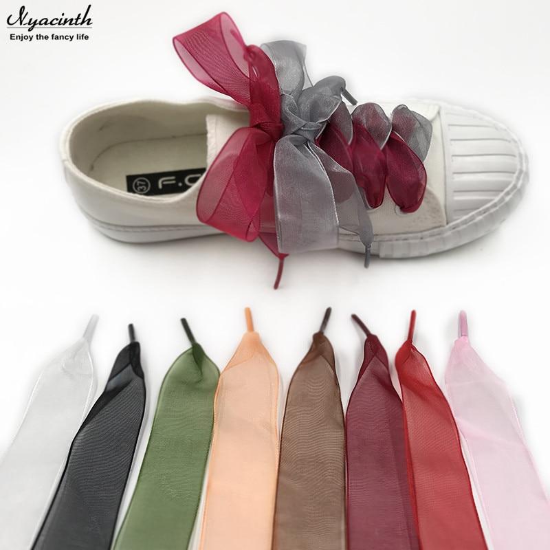 18 Color 4 Cm Width 80/100/120/160 Cm Length Organza Shoelaces Beautiful Transparent Lace Widened Leisure Sports Shoes Shoelaces