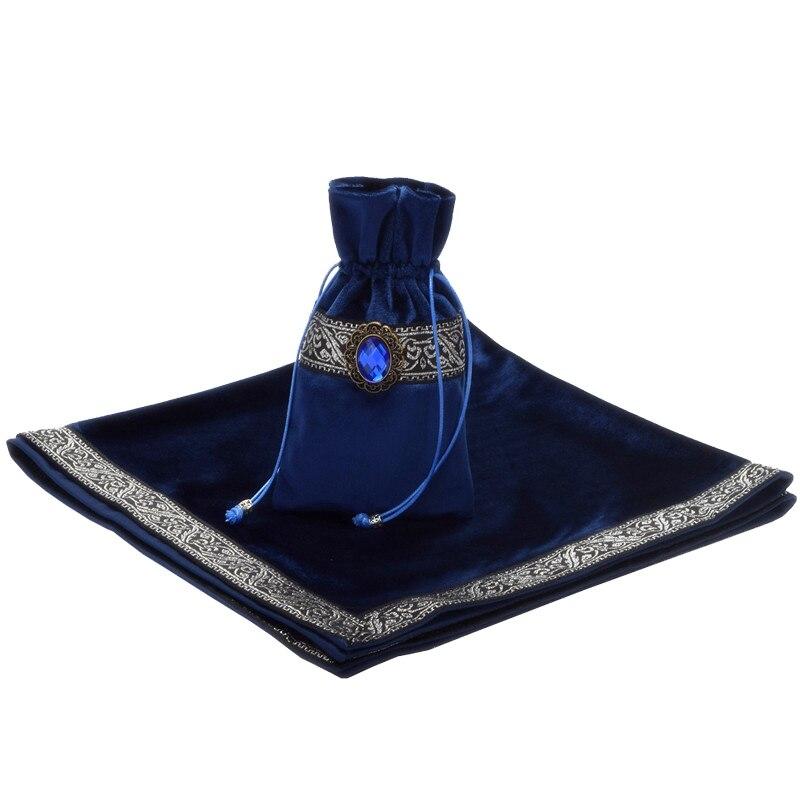 Mantel de Tarot morado/azul/negro con bolsas, tela de flocado de alta calidad hermosa piedra Tarot juego de mesa accesorios a mano