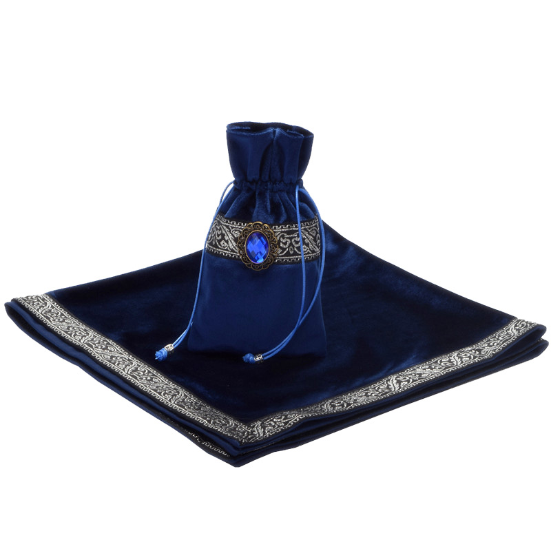 Purple/Blue/Black Tarot Tablecloth With Bags, High Quality Flocking Fabric Beautiful Stone Tarot Board Game Accessories By Hand