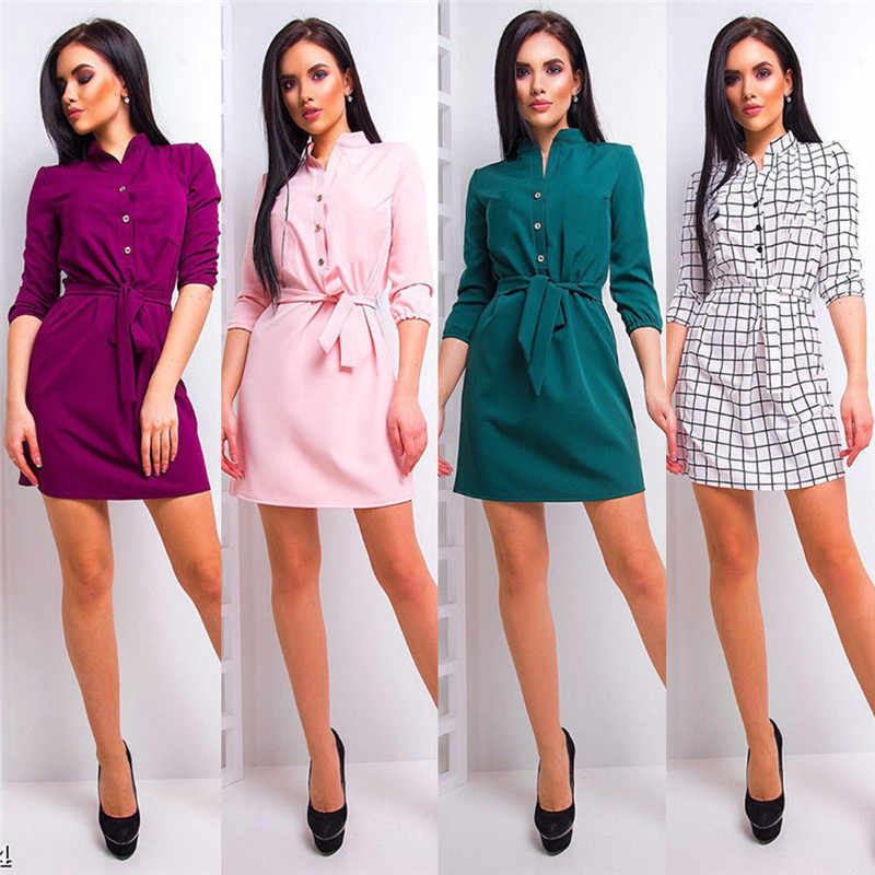 Women Summer Spring Clothes Stand Collar Loose Casual Dress Elegant Waist Band Beach Party Dresses Regular Size Spandex