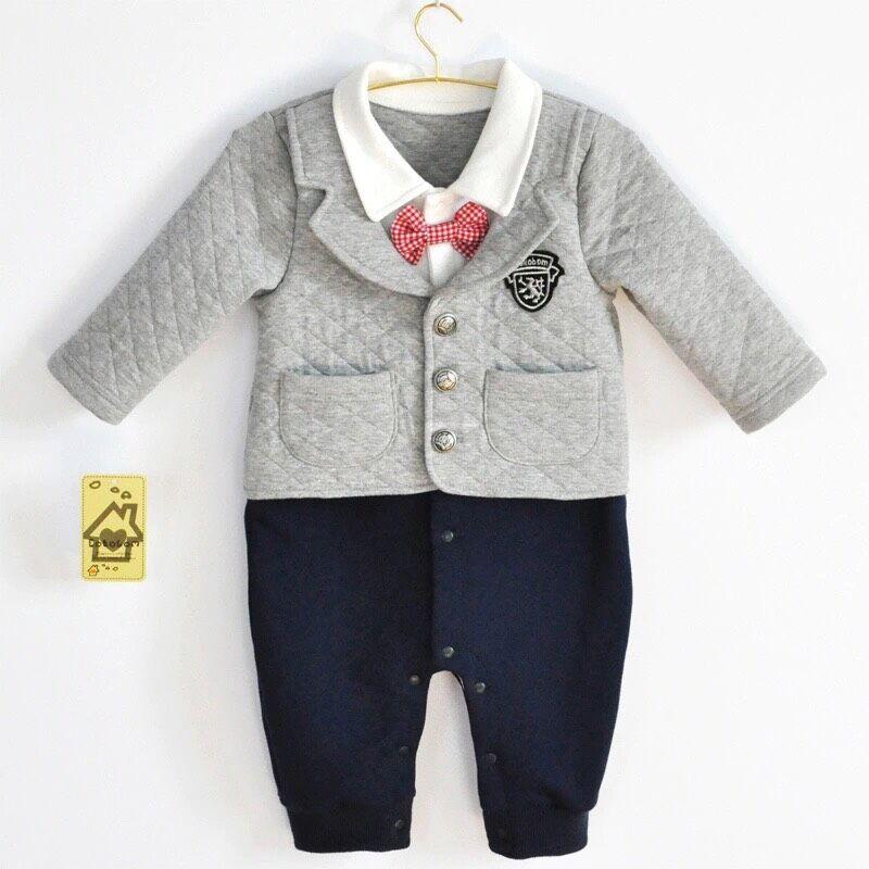 Newborn Baby Boy Clothes 100 Cotton Winter Thicken Bebe Bow Tie