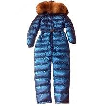 Women's Siamese Ski Suit Down Jacket High-end Outdoor Set Large Fur Collar duck