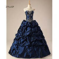 ZYLLGF Vestidos Quinceanera Largos Puffy Sweetheart Taffeta Ruched Bottom Embroidery Sweet Sixteen Dresses With Beadings Q253