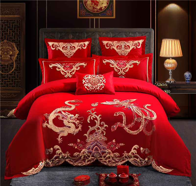 Luxury 100 Cotton dragon and Phoenix Wedding Bedding Set Embroidery Duvet Cover Bed Sheet Pillowcases Queen