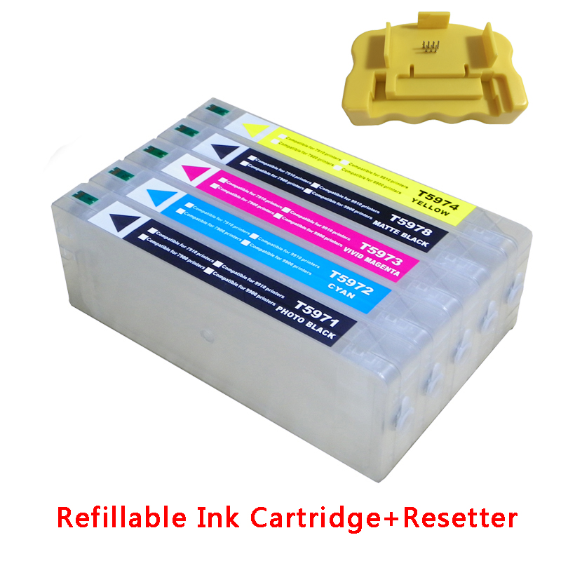 Refillable ink cartridge for Epson 9700 7700 7710 9710 large format printer with chips and resetters (5 color and 700ml) new t5971 t5974 t5978 empty refillable ink cartridge for epson stylus 7700 9700 7710 9710 with arc chips with one resetter