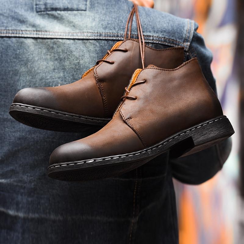Bottes en cuir véritable Vintage britannique hommes bottes en cuir marron Martin pour homme automne hiver bottes de travail imperméables chaussures - 6