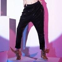 Çocuklar Yetişkin Sokak Büyük Croch Pantolon Moda Güzel Hip Hop Sweatpants Caz Dans Kostüm Kişilik Pul Sahne Harem Pantolon