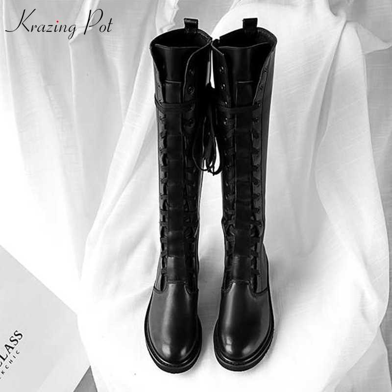 Krazing Pot genuine leather round toe streetwear med heels bigger size black color oxfords Chelsea motorcycle mid-calf boots L13