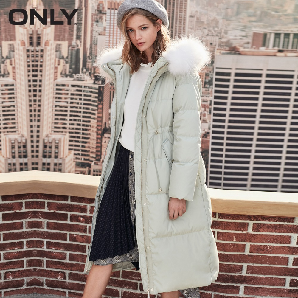 Только женский зимний НОВЫЙ Скорпион меховой воротник Длинная талия вниз куртка талия шнурок замшевый карман внутренний пуховик женский зимний| 118312541