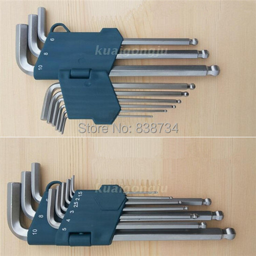 9pcs/set steel with matte chrome plated extra long hex key ball end set allen key 1.5-10mm Wrench Tool Handle