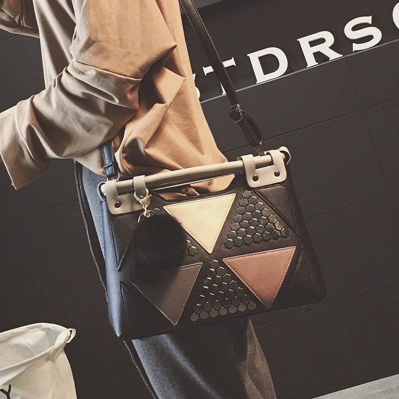 New Rivet Women's Tygväska Splice Shoulder Bag Ladies Patchwork - Handväskor