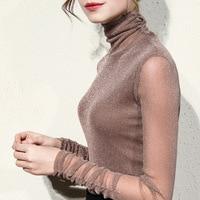 autumn turtleneck silk women blouse see through mesh sexy slim office lady elegant shirts fashion outwear shirts tops