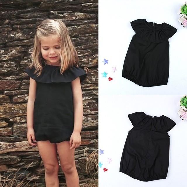 fd82696c6ed Summer Kids Romper Baby Girls black Romper Jumpsuit Playsuit Clothes Outfit  Sunsuit 0-5 Years