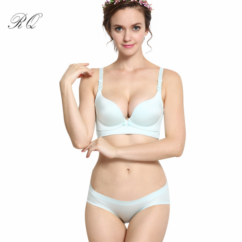 da408b4a41 RQ Maternity Nursing bra+panties Breastfeeding bra set for pregnant women  bow feeding Bra Pregnancy underwear clothes WX35