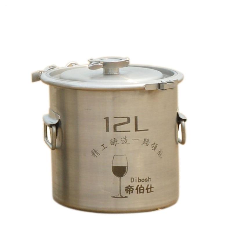 12L κουβάς 304 βαρέλι από ανοξείδωτο χάλυβα Αρχική τσάι ζύμωσης ζύμωσης κρασιού και μπύρας ζυμωτήρα σχεδιασμός σφιγκτήρων δοχείο αποθήκευσης