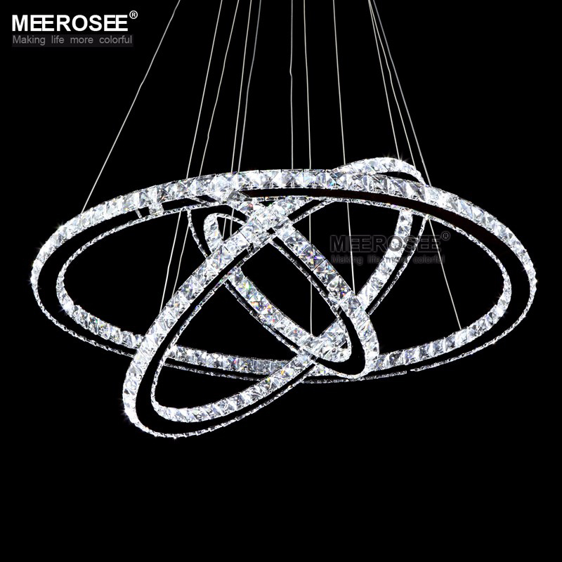 Modern Dinning Room LED Round Pendant Lighting Crystal LED Round Hanging Lamp Lustre Stainless Steel Kitchen Pendant Lighting free shipping modern led pendant light d80cm pendant lamp clear crystal stainless steel 90 265v suspension lamp dinning pendant