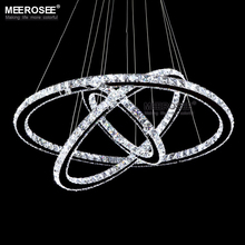Modern Dinning Room LED Oval Pendant Lighting Crystal Hanging Lamp Lustre Stainless Steel Kitchen MD2101