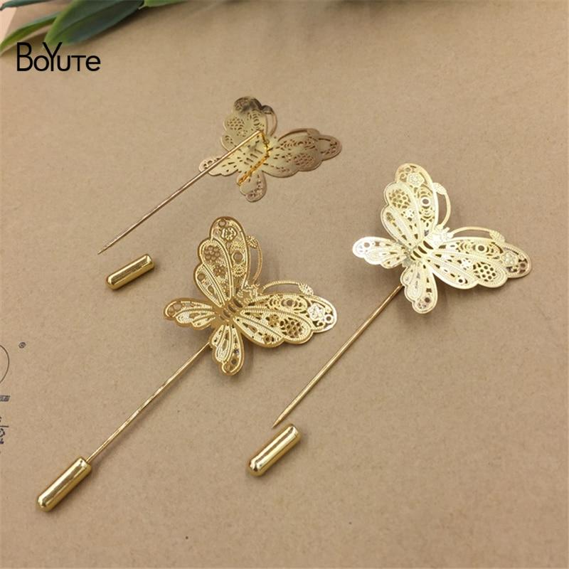 0c596d6993df1 BoYuTe 20Pcs 35*26MM Filigree Butterfly Lapel Pin Men Gold Brooch ...