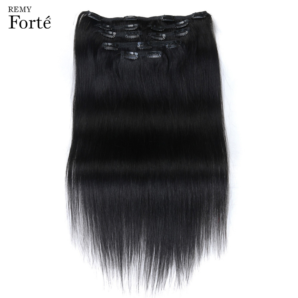 Remy Forte 24 Inch Clip In Human Hair Extensions Straight Hair Extension Clip Natural Hair Clip Ins 7 Pcs Seamless Clip In Hair(China)