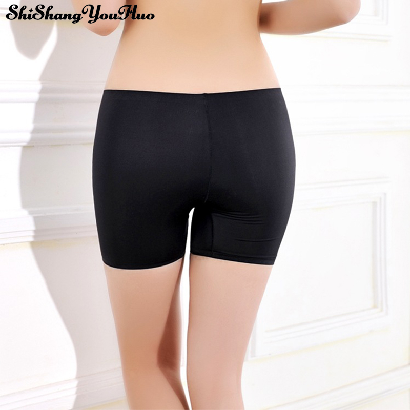 3 Colors White/Black/Beige Women Safety Short Pants Hot Summer Underwear Shorts Sexy Silk Ice Pants Gifts for Women Boxer 667