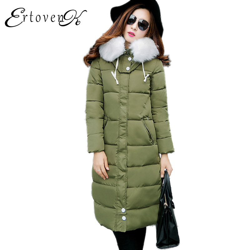 Fur collar Cotton Coat New 2017 Winter Women parkas Thickening Hooded Jacket Long section Feather Padded Female Outerwear C156 2015 winter jacket women cotton padded jacket women fur collar ladies winter coat thickening outerwear long denim parkas h4451