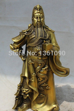 xd 00372 12″ Chinese Copper Feng Shui Folk knife Guan Gong Yu Warrior God knight Statue