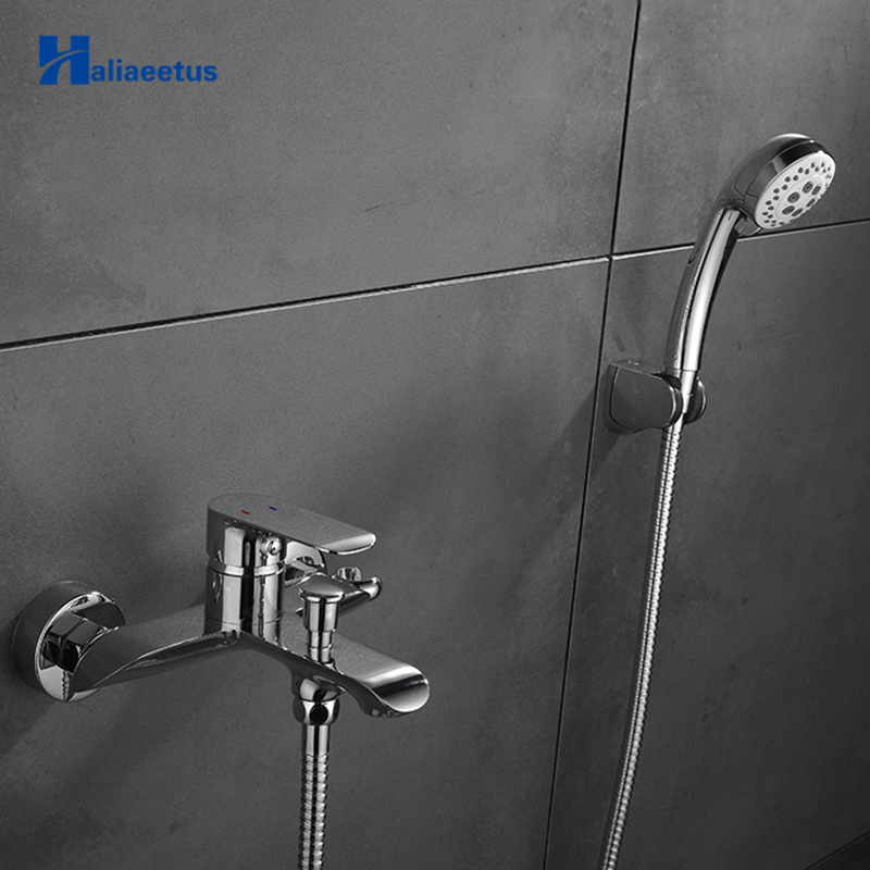 Haliaeetus Wall Mounted Shower Set White Painting Shower set Bathtub Faucet Shower Mixer Hot and Cold